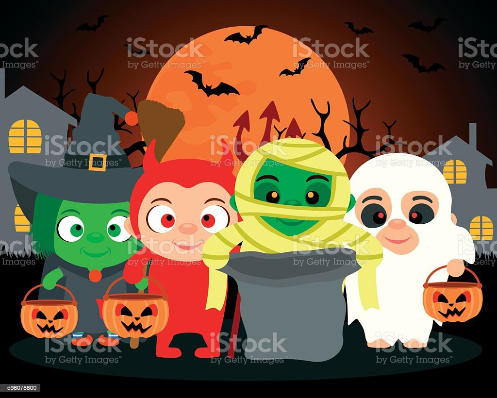 Trick or Treat ,vector Halloween background with kids vector art illustration