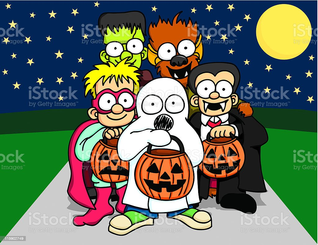 Trick-Or-Treater Group royalty-free stock vector art