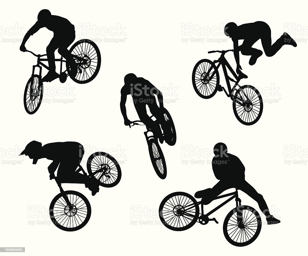BMX Tricks Vector Silhouette vector art illustration