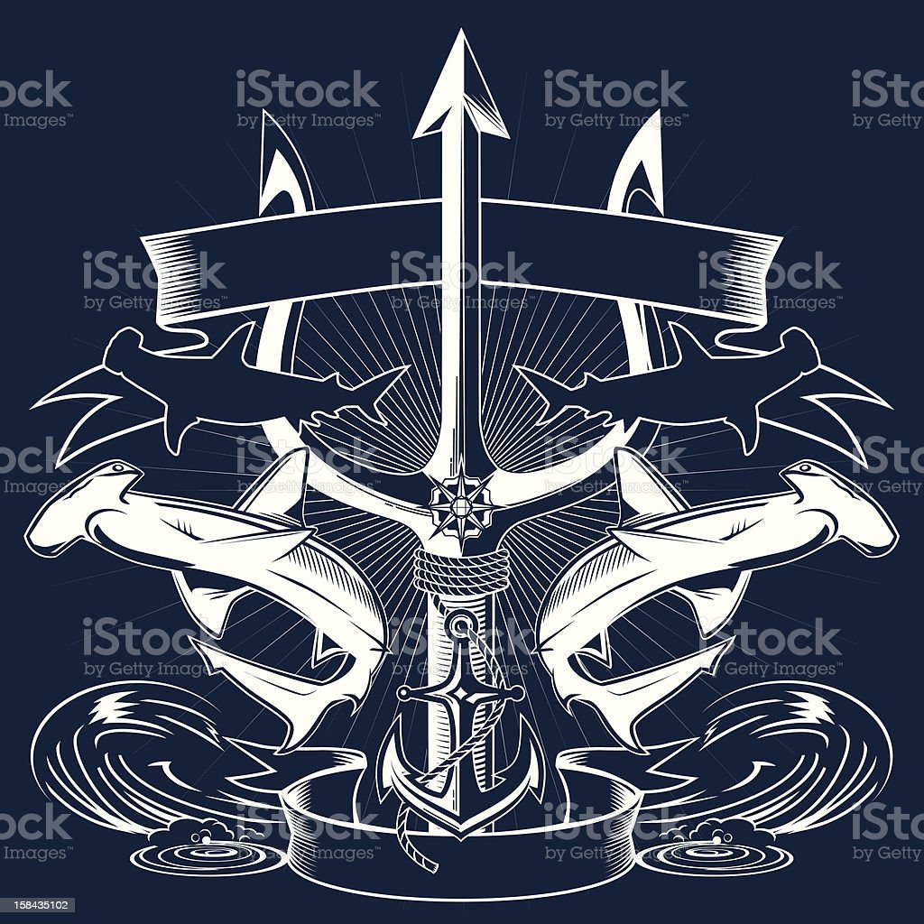 Trident Crest vector art illustration