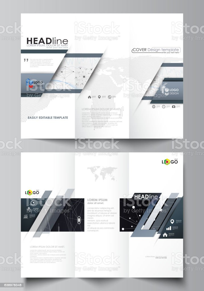Tri-fold brochure business templates. Easy editable vector layout. Abstract vector art illustration