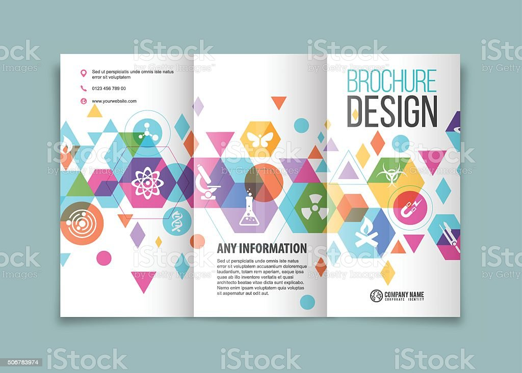 Tri-fold brochure design on Science vector art illustration