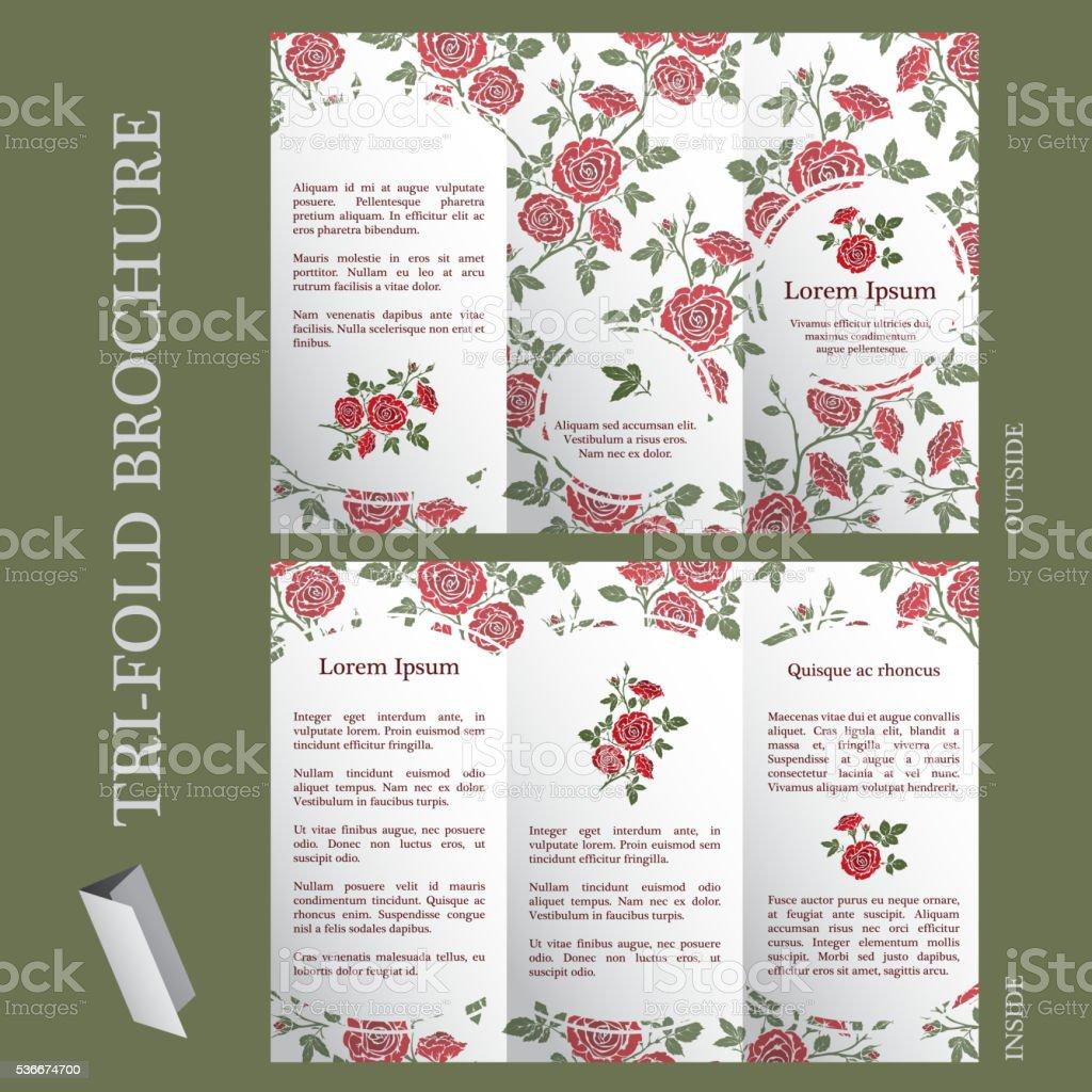 Tri-fold brochure template vector art illustration