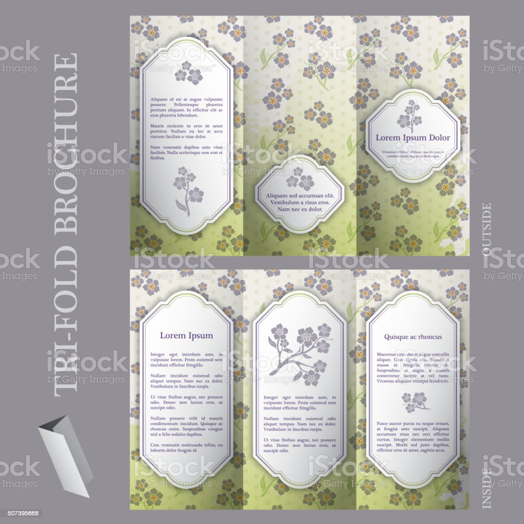 Tri-fold brochure template with flower pattern vector art illustration