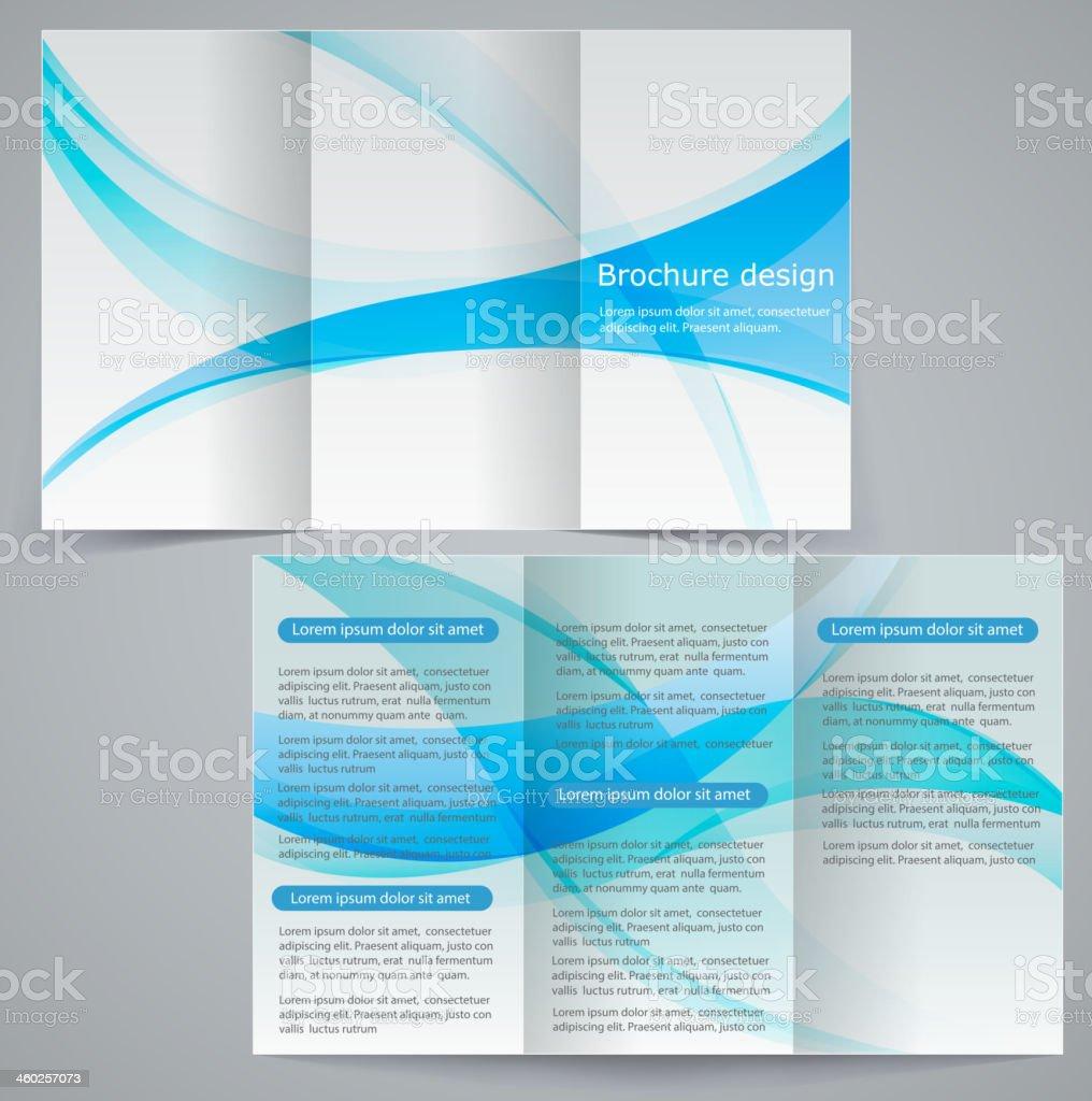 Tri-fold business brochure template, vector blue design flyer royalty-free stock vector art