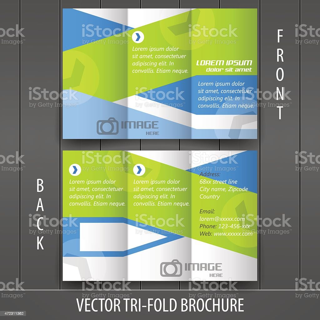 Tri-fold business store brochure template, cover design vector art illustration
