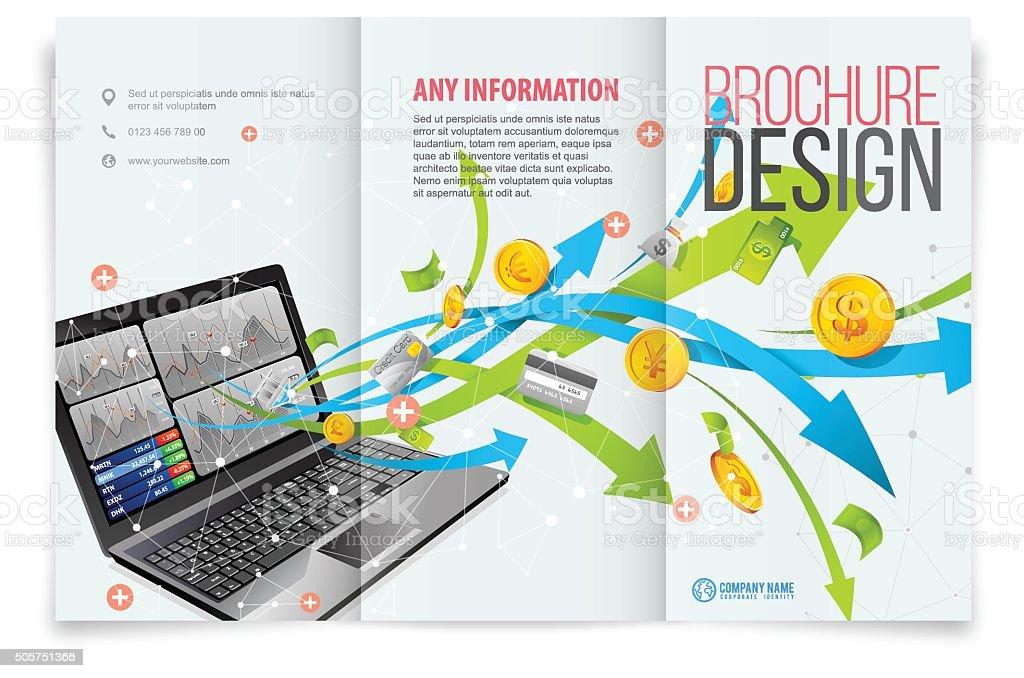 Tri-fold template design on business tech vector art illustration