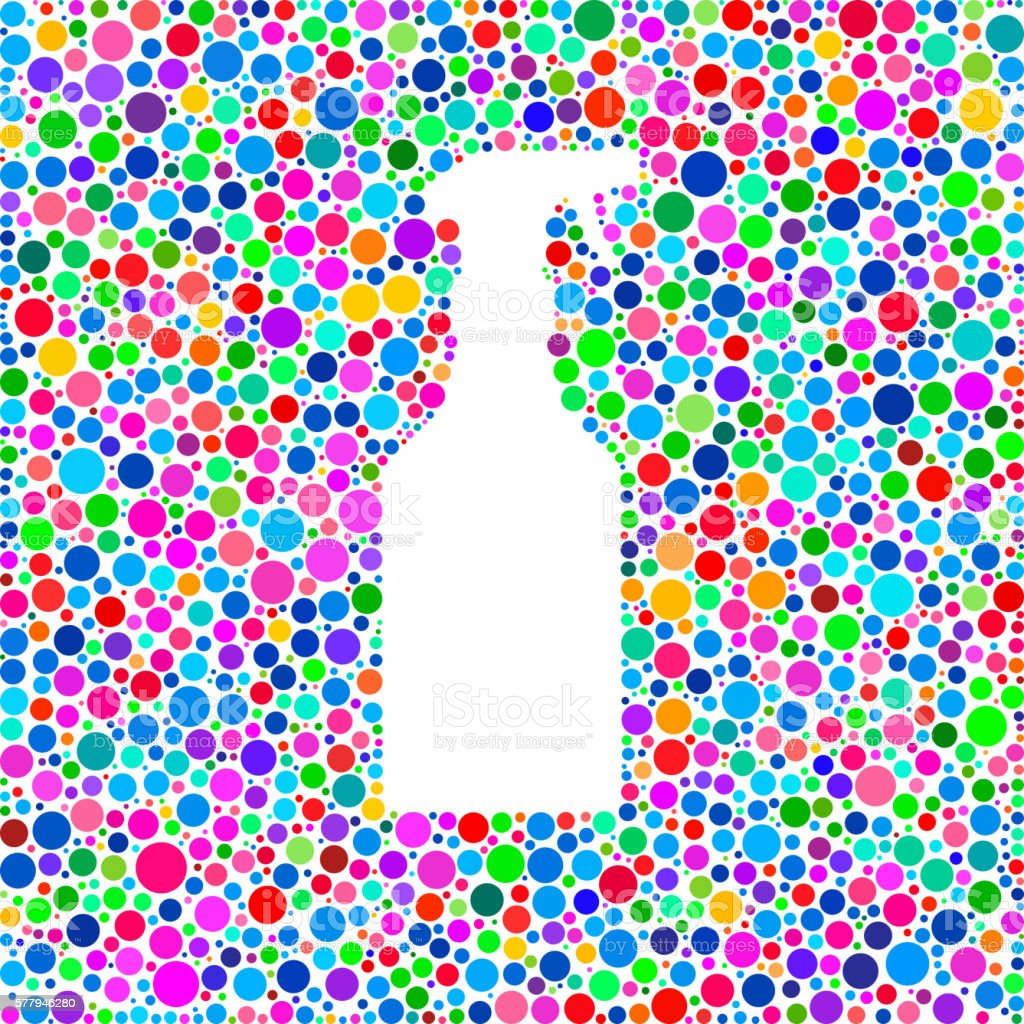 Trigger Spray Bottle Icon on Color Circle Background Pattern vector art illustration