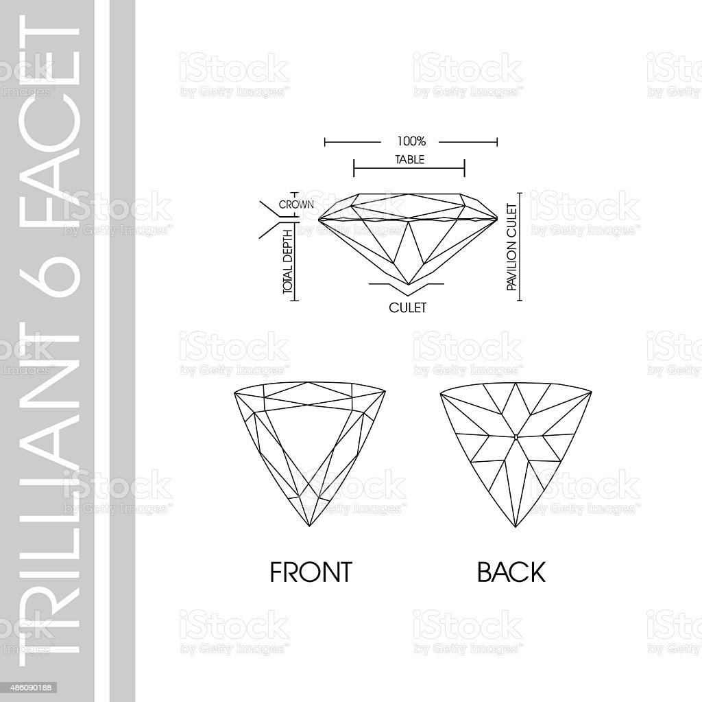 Triiliant 6 facet cutting vector art illustration