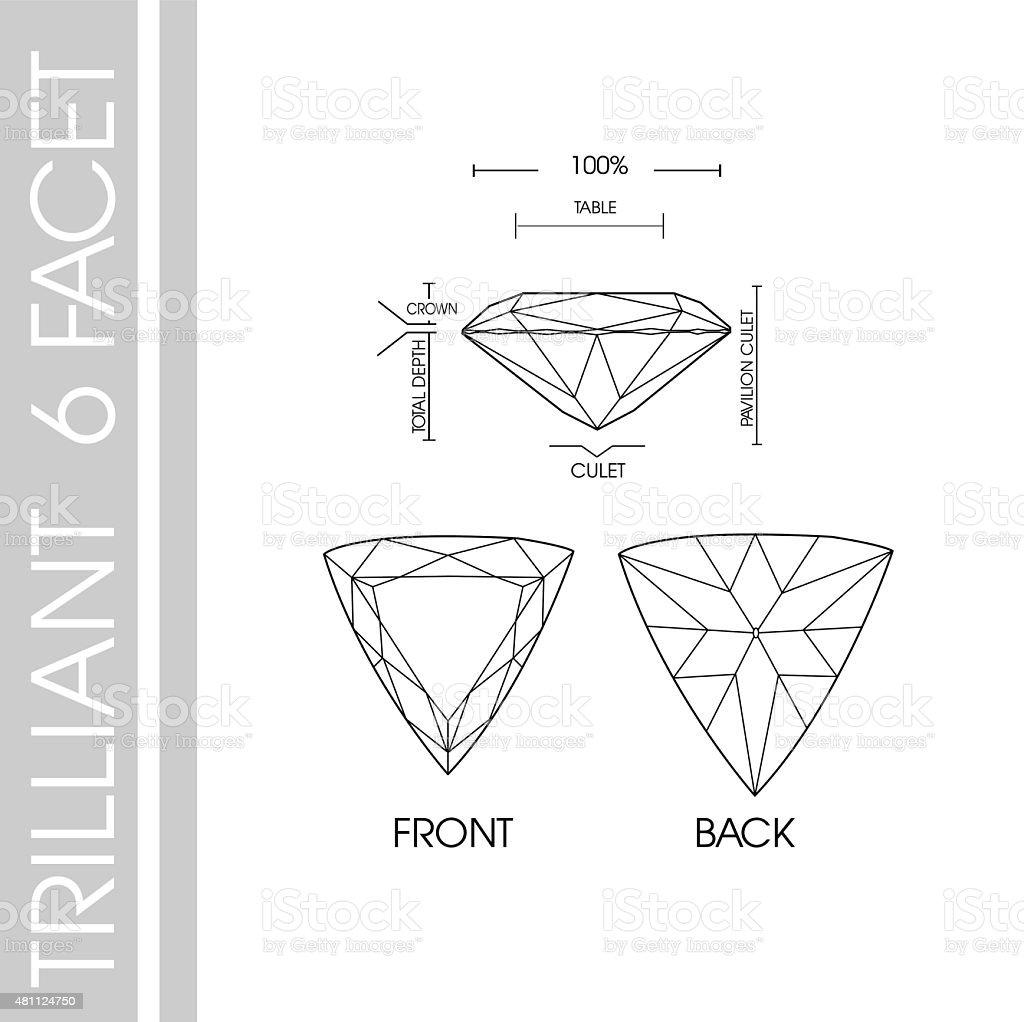Triiliant 6 facet vector art illustration