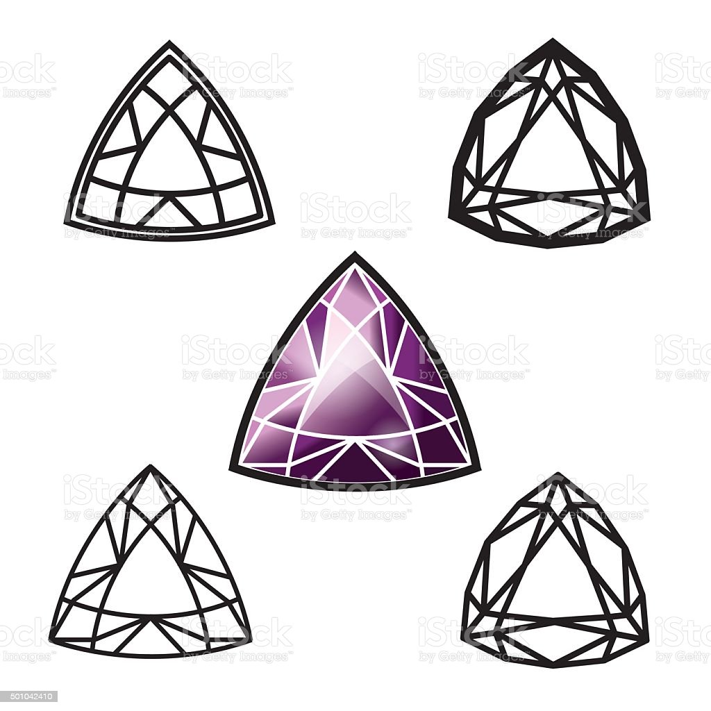Trillion gemstone cut (diamond) vector art illustration
