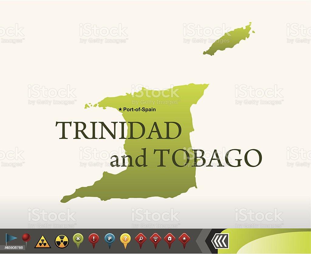 Trinidad & Tobago map with navigation icons royalty-free stock vector art