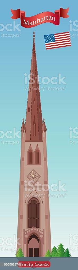 Trinity Church vector art illustration