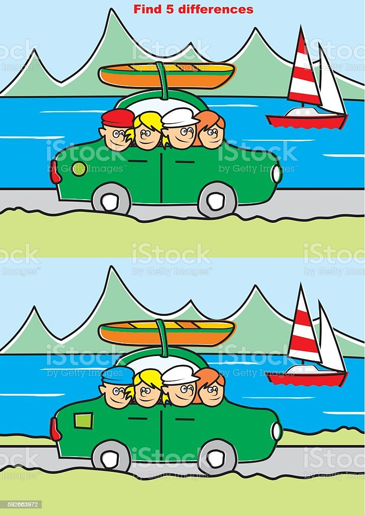 trip, find five differences vector art illustration