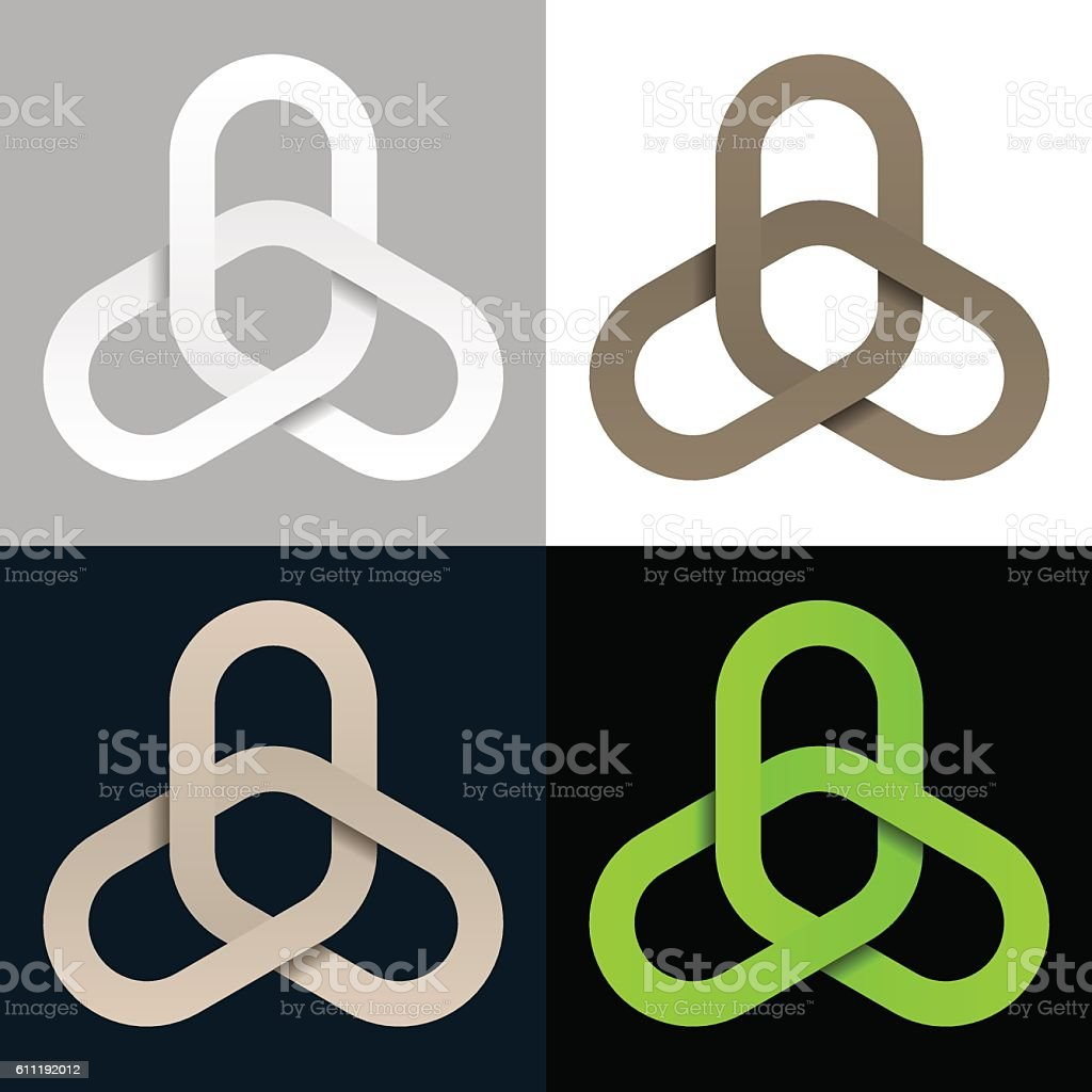 triple linked chain cooperation symbol vector art illustration