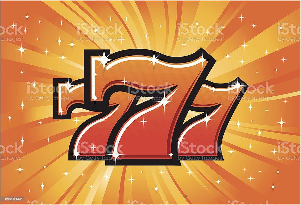 Triple Lucky Sevens jackpot vector art illustration