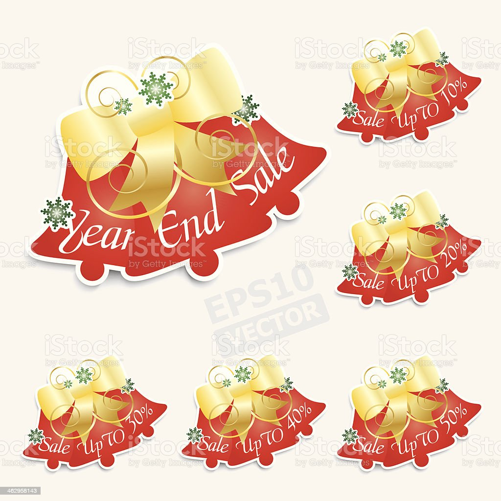 Triple red bells price tag. royalty-free stock vector art