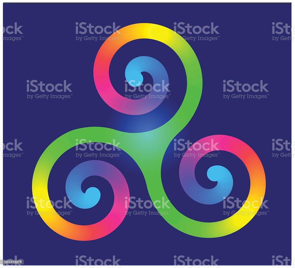Triple Spiral or Triskele Celtic Symbol symbol vector art illustration