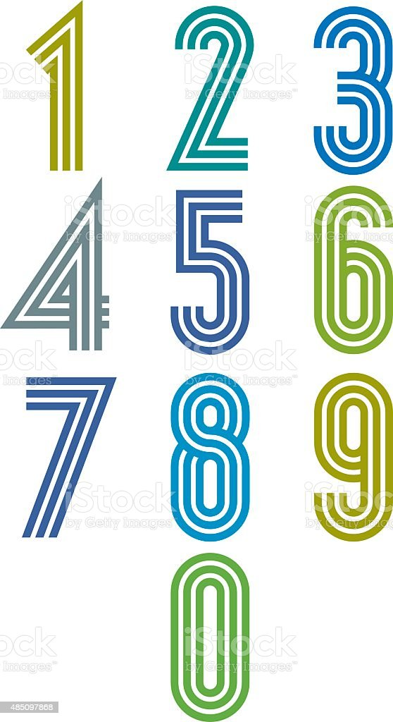 Triple stripes funky numbers set. vector art illustration