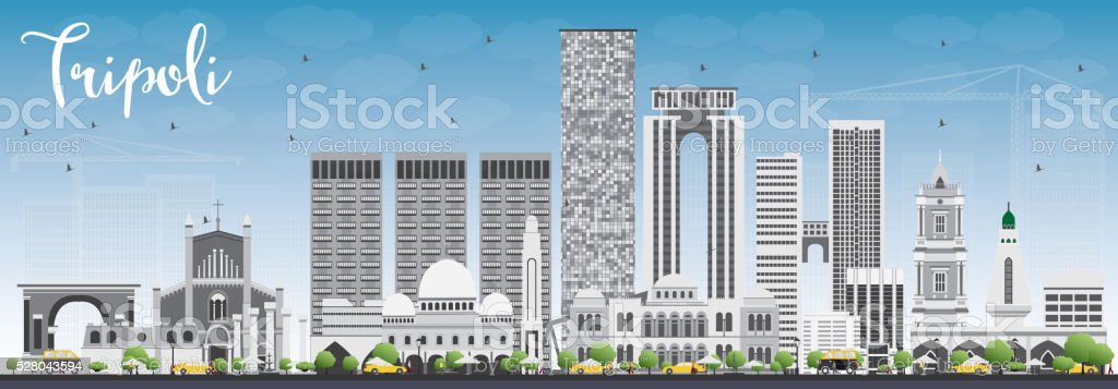 Tripoli Skyline with Gray Buildings and Blue Sky. vector art illustration