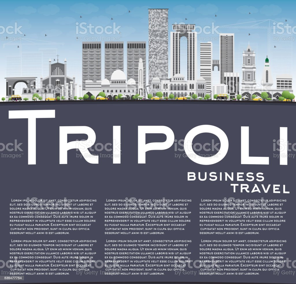 Tripoli Skyline with Gray Buildings, Blue Sky and Copy Space. vector art illustration