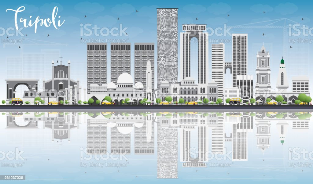 Tripoli Skyline with Gray Buildings, Blue Sky and Reflections. vector art illustration