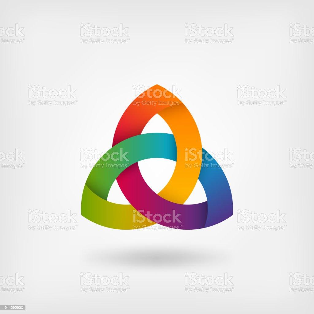 triquetra symbol in rainbow colors vector art illustration