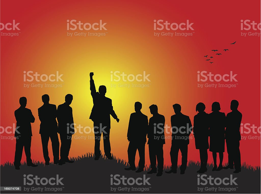 Triumph at sunset royalty-free stock vector art