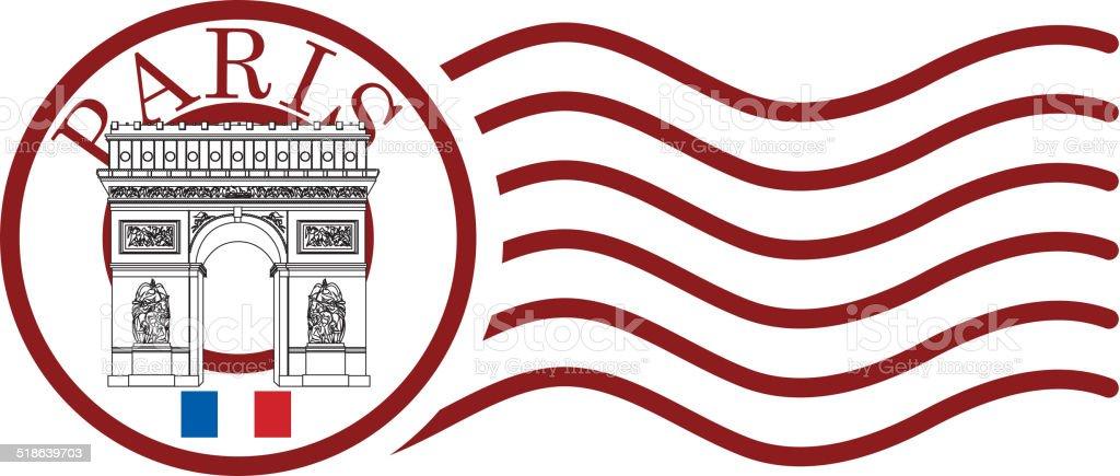 Triumphal Arch post mark vector art illustration