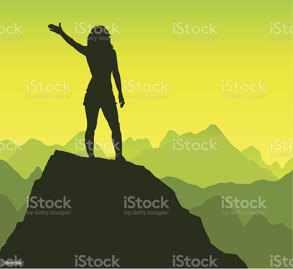 Triumphant female on a rock royalty-free stock vector art