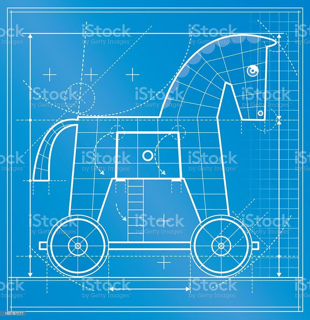 Trojan horse blueprint vector art illustration