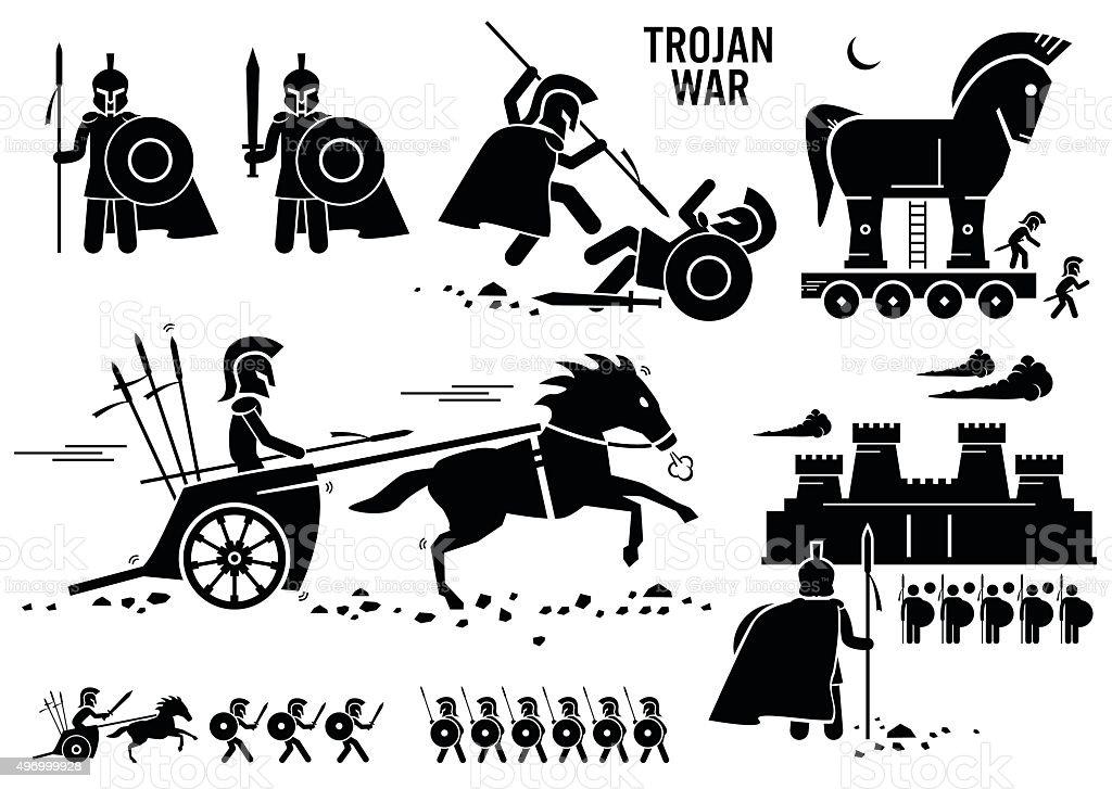 Trojan War Horse Greek Rome Warrior Troy Sparta Spartan Cliparts vector art illustration