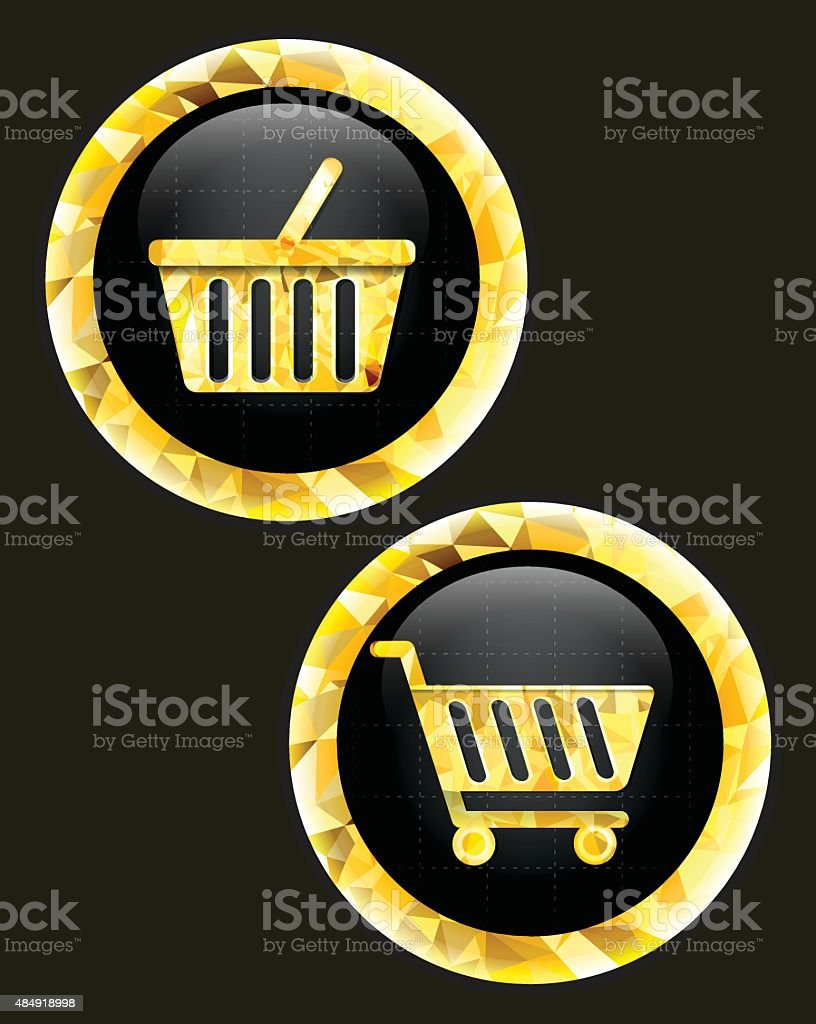 Trolley and basket  icon. vector art illustration
