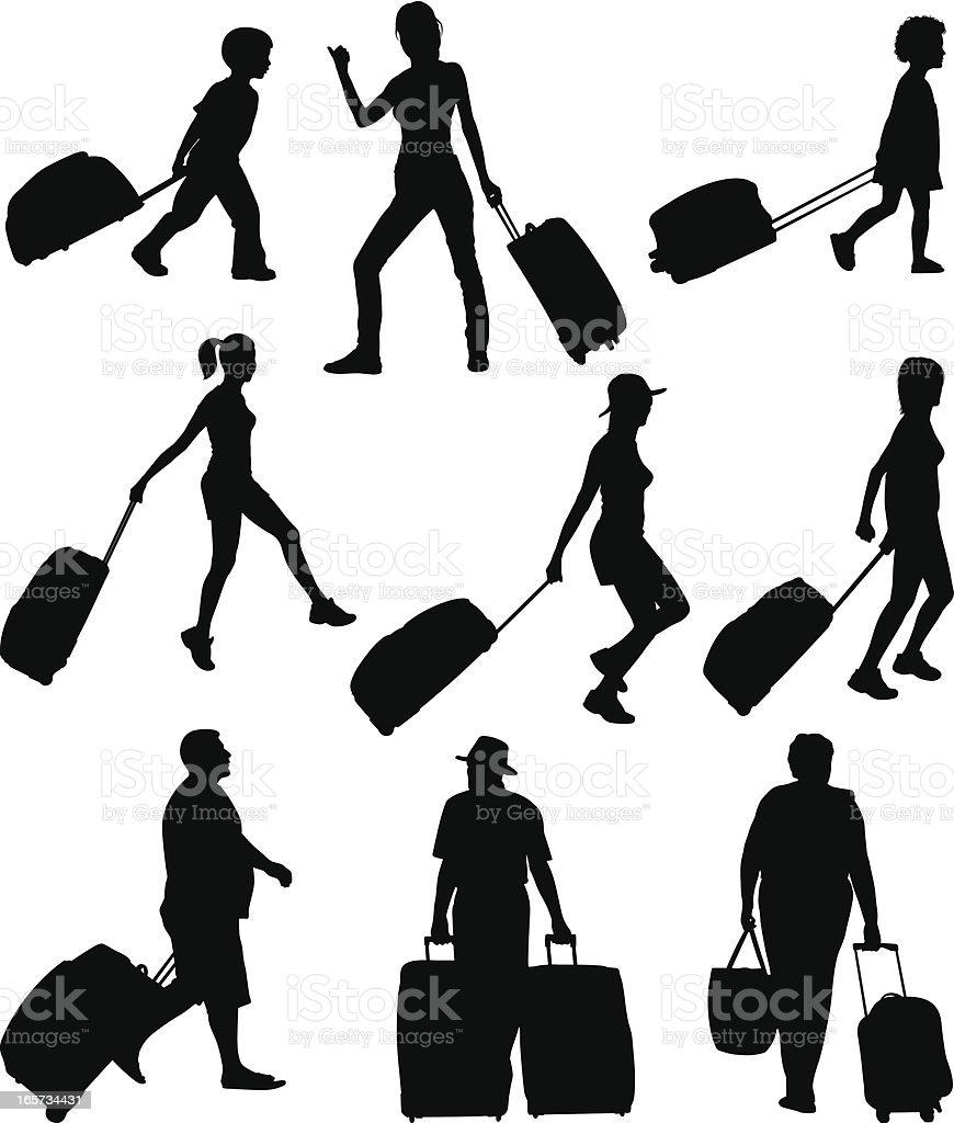 Trolley bag vector art illustration