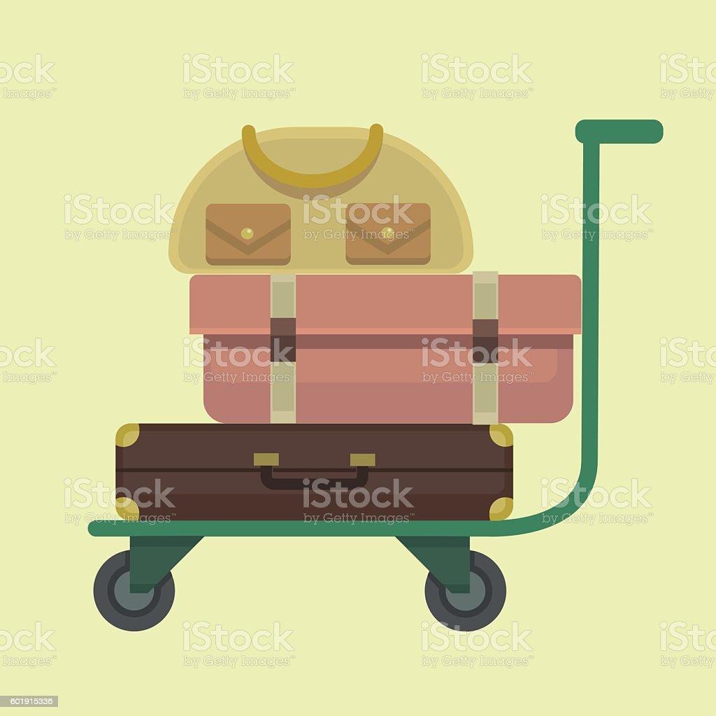 Trolley baggage icon. Vector flat cartoon illustration vector art illustration