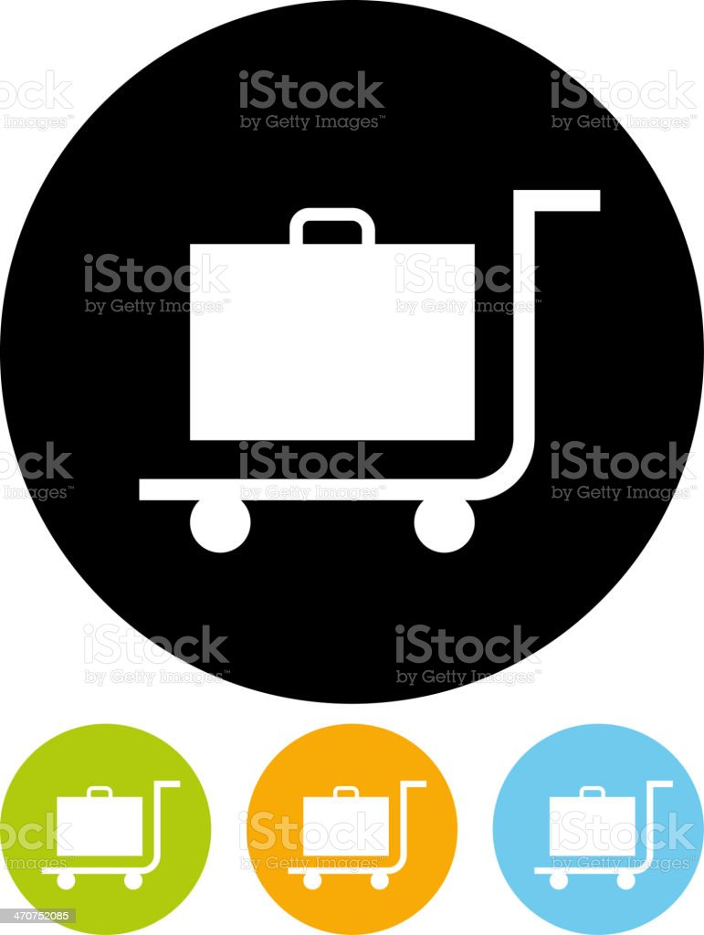 Trolley luggage icon vector art illustration
