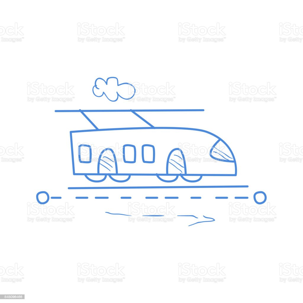 Trolleybus On The Road With Dotted Line Route vector art illustration