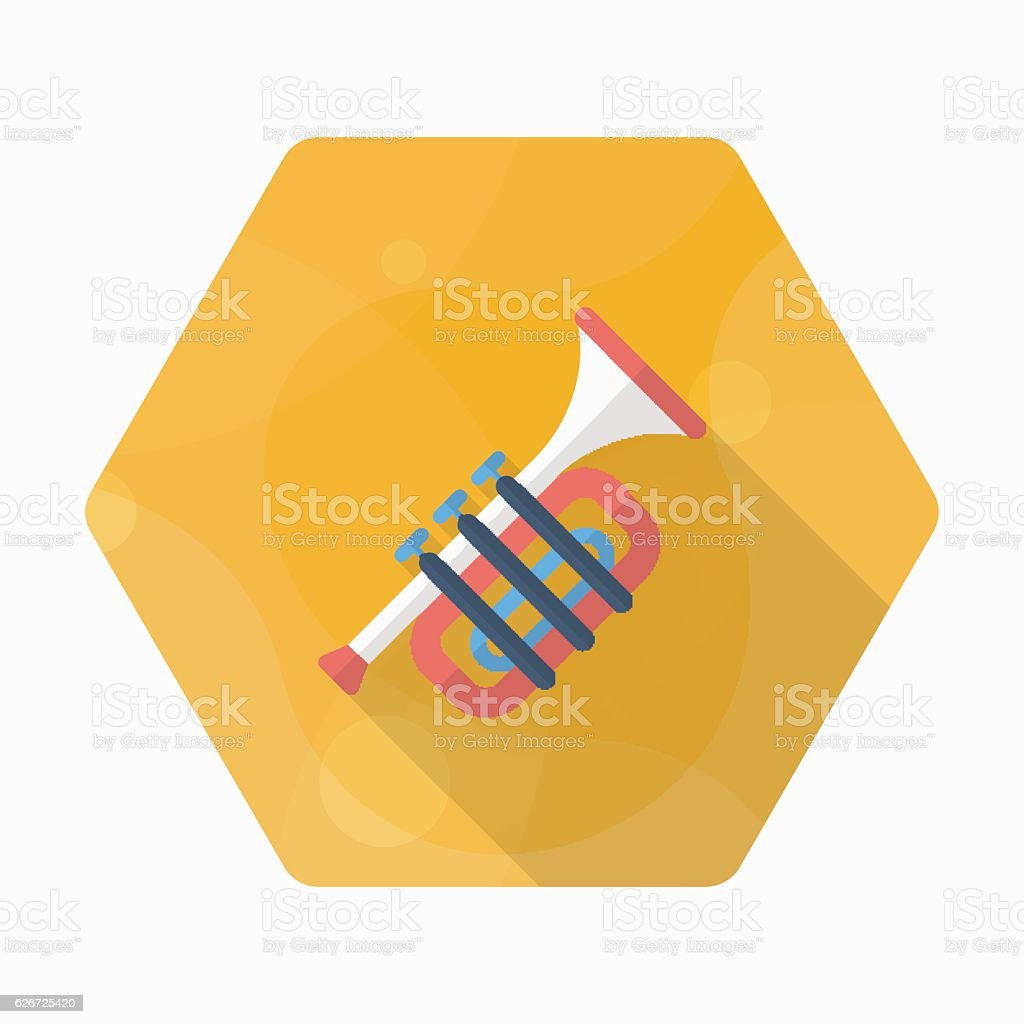 Trombone icon , Vector flat long shadow design. vector art illustration