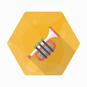 Trombone icon , Vector flat long shadow design.