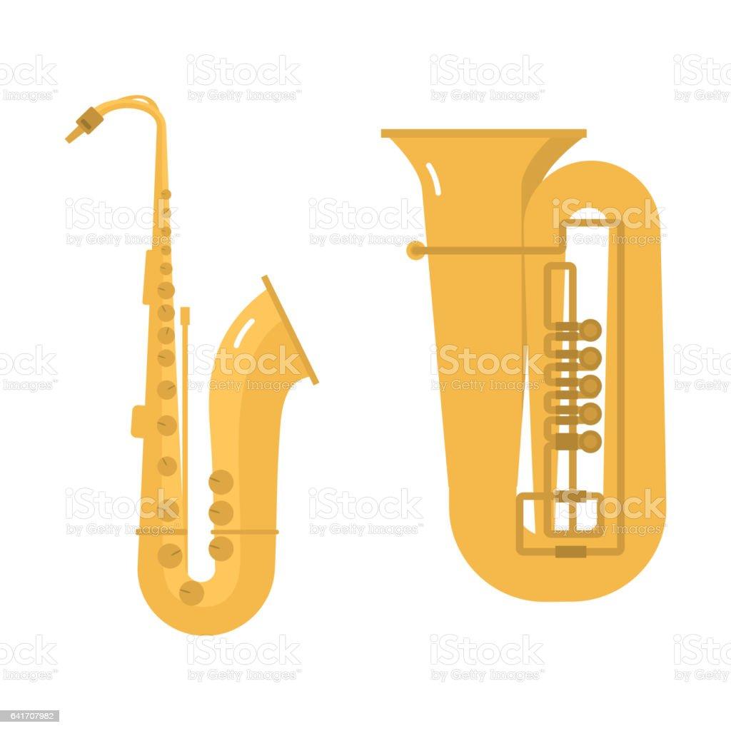 Trombone tuba trumpet classical sound vector illustration vector art illustration