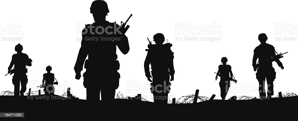Troops foreground vector art illustration