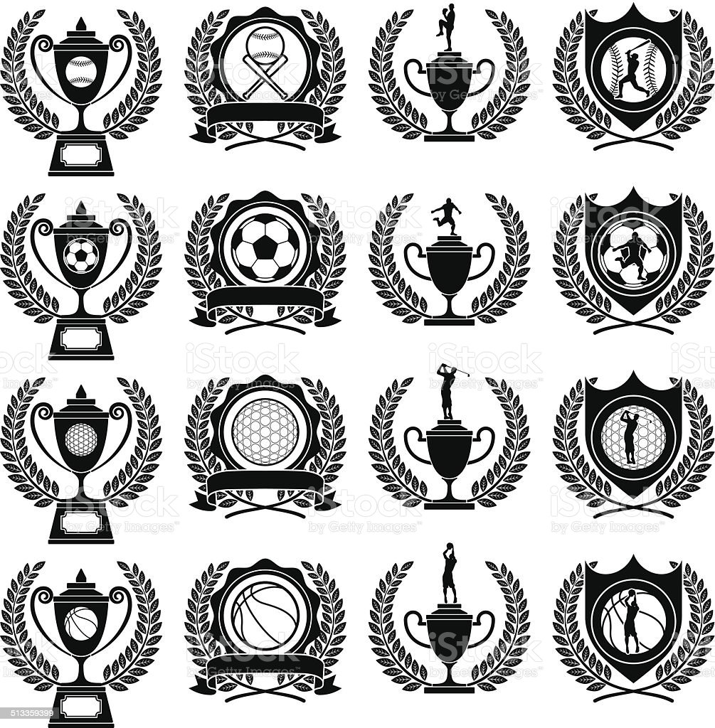 Trophies and medals sports vector art illustration