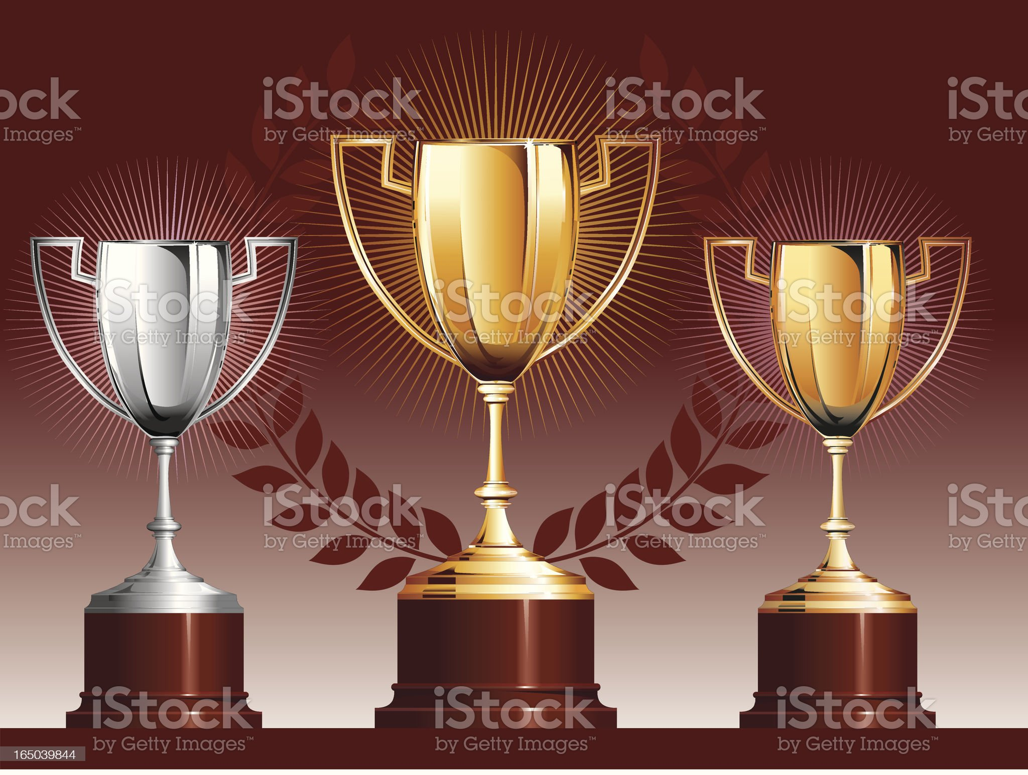 Trophies - Gold Silver and Bronze royalty-free stock vector art