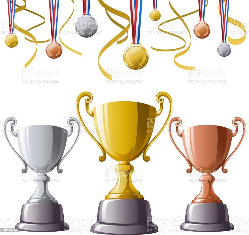 Trophies & Medals vector art illustration