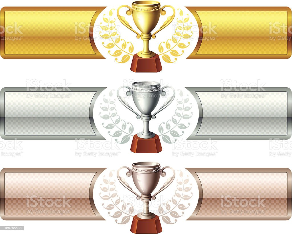 Trophies with banners royalty-free stock vector art