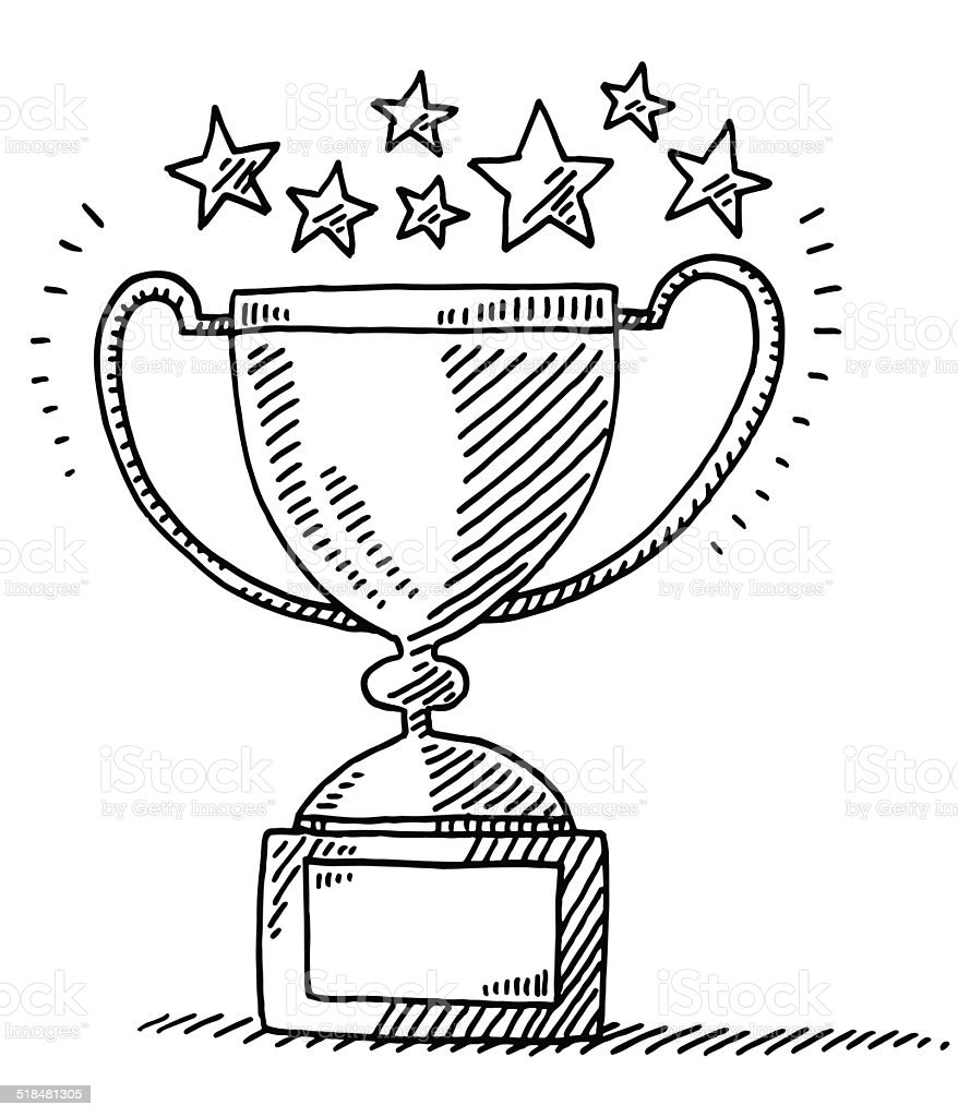 Trophy Achievement Stars Drawing vector art illustration