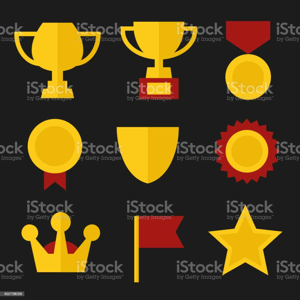Trophy and Awards Icons Set in Flat Design Style. Vector royalty-free stock vector art