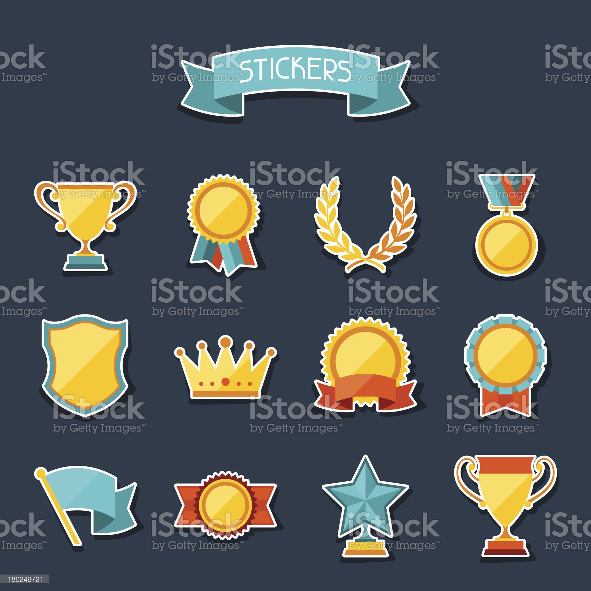 Trophy and awards stickers set. royalty-free stock vector art