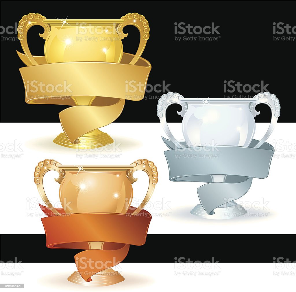 Trophy and Banner - Gold, Silver, Bronze royalty-free stock vector art