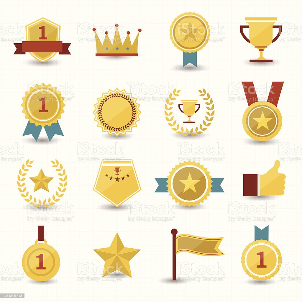 Trophy and prize icons with white background vector art illustration